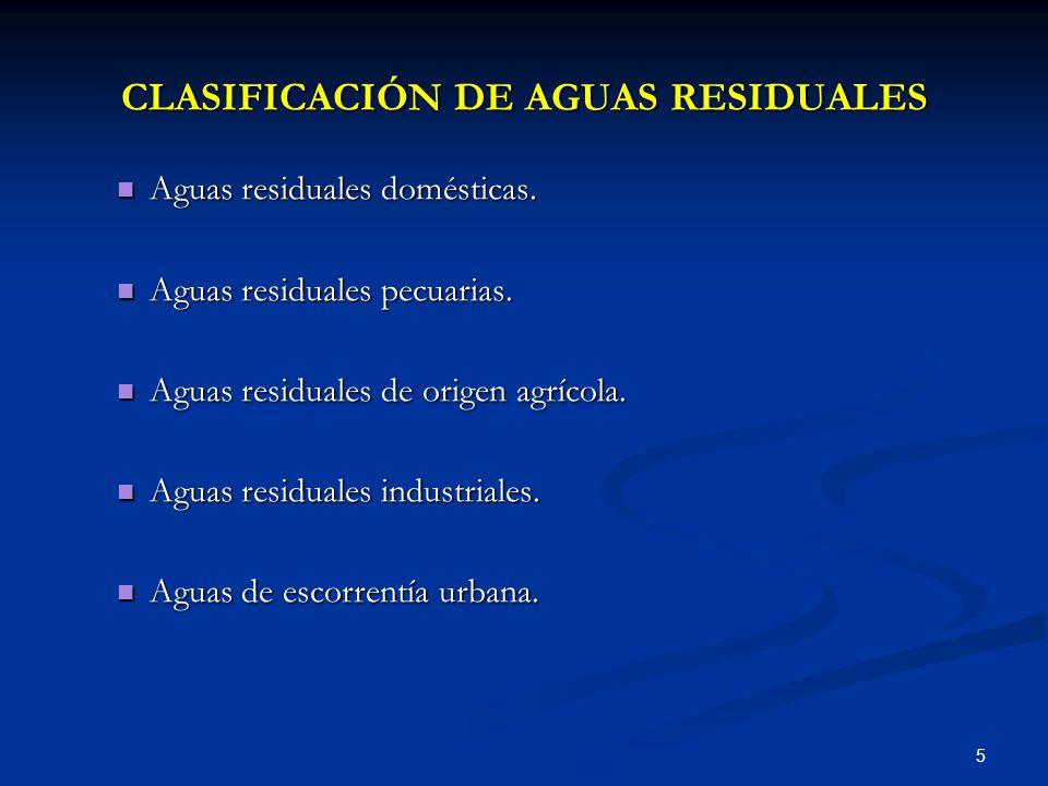 CLASIFICACIÓN DE AGUAS RESIDUALES