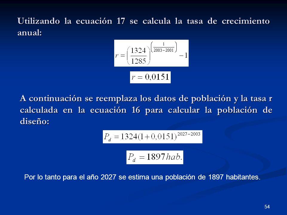 Utilizando la ecuación 17 se calcula la tasa de crecimiento anual: