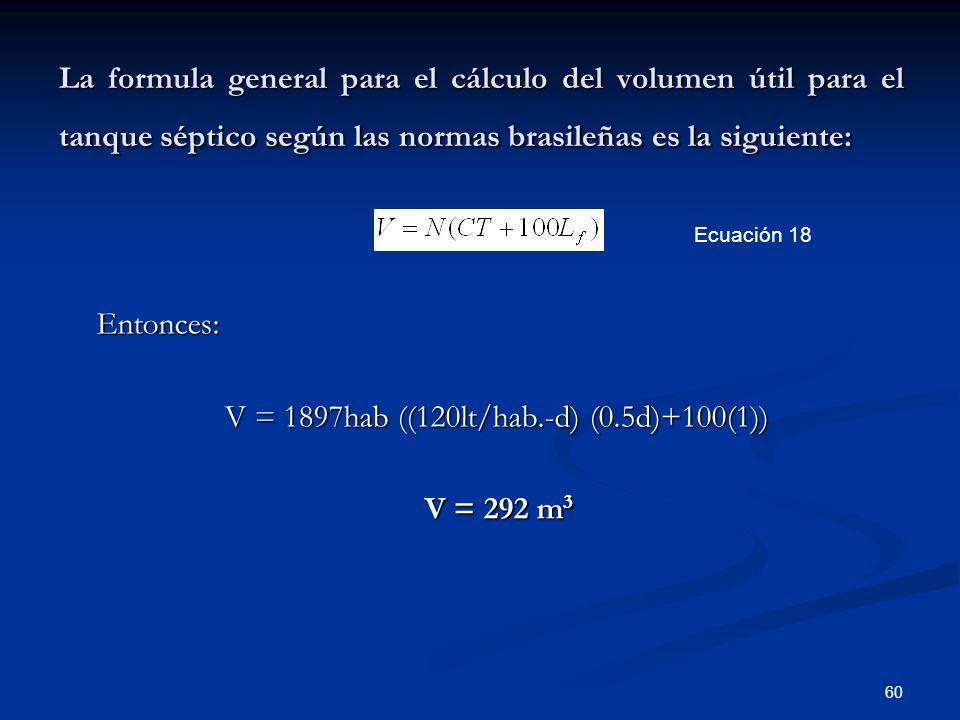 V = 1897hab ((120lt/hab.-d) (0.5d)+100(1)) V = 292 m3