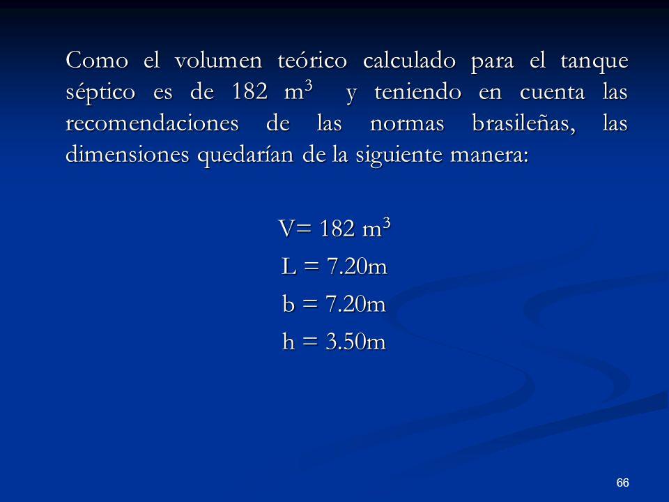 Como el volumen teórico calculado para el tanque séptico es de 182 m3 y teniendo en cuenta las recomendaciones de las normas brasileñas, las dimensiones quedarían de la siguiente manera: