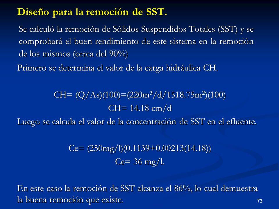 Diseño para la remoción de SST.