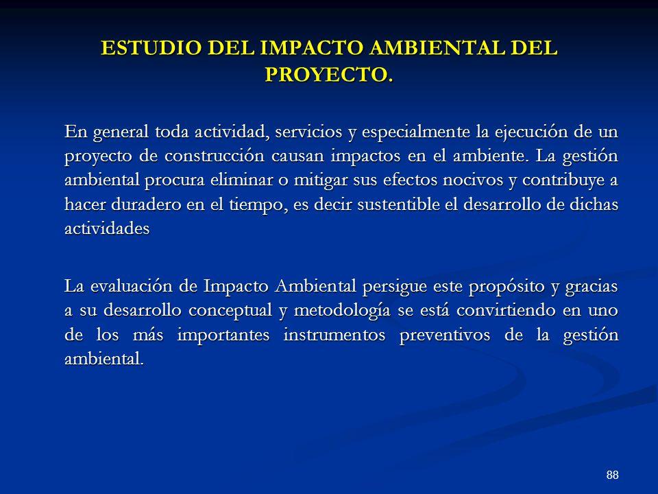 ESTUDIO DEL IMPACTO AMBIENTAL DEL PROYECTO.