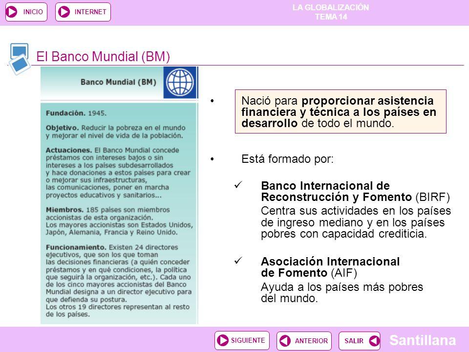 El Banco Mundial (BM) Nació para proporcionar asistencia financiera y técnica a los países en desarrollo de todo el mundo.