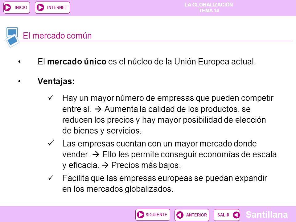El mercado común El mercado único es el núcleo de la Unión Europea actual. Ventajas: