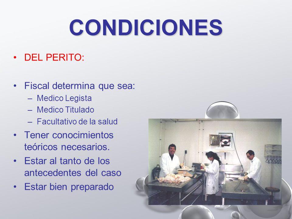 CONDICIONES DEL PERITO: Fiscal determina que sea: