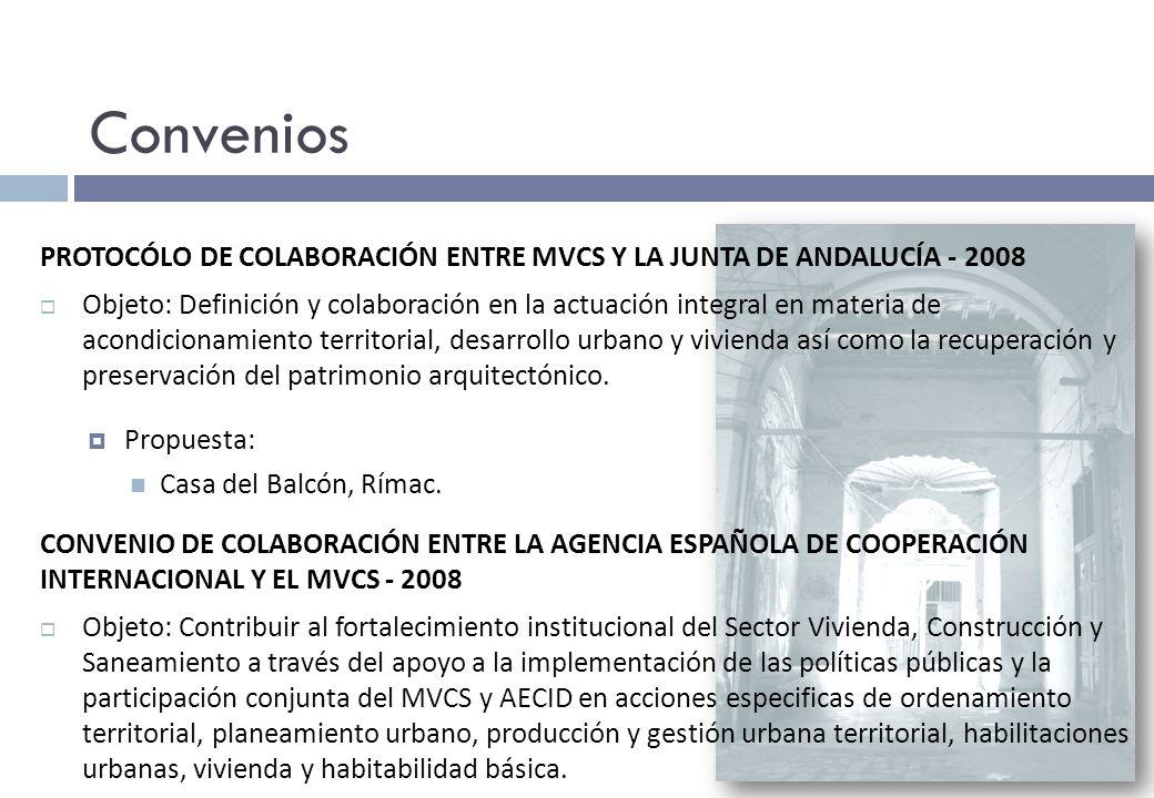Convenios PROTOCÓLO DE COLABORACIÓN ENTRE MVCS Y LA JUNTA DE ANDALUCÍA - 2008.
