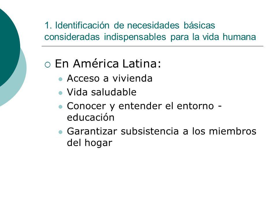 1. Identificación de necesidades básicas consideradas indispensables para la vida humana