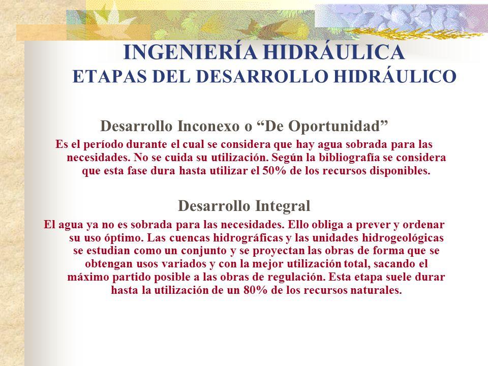 INGENIERÍA HIDRÁULICA ETAPAS DEL DESARROLLO HIDRÁULICO