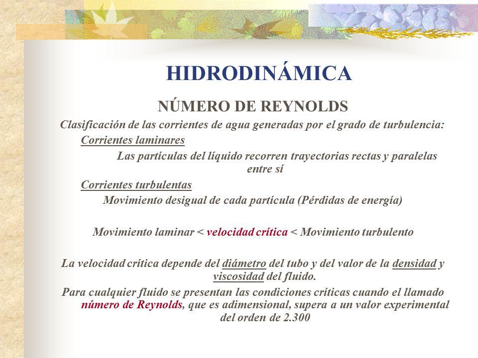 HIDRODINÁMICA NÚMERO DE REYNOLDS