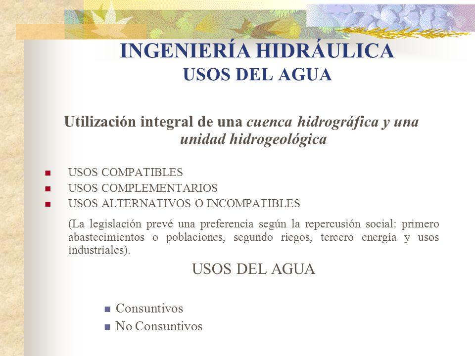 INGENIERÍA HIDRÁULICA USOS DEL AGUA