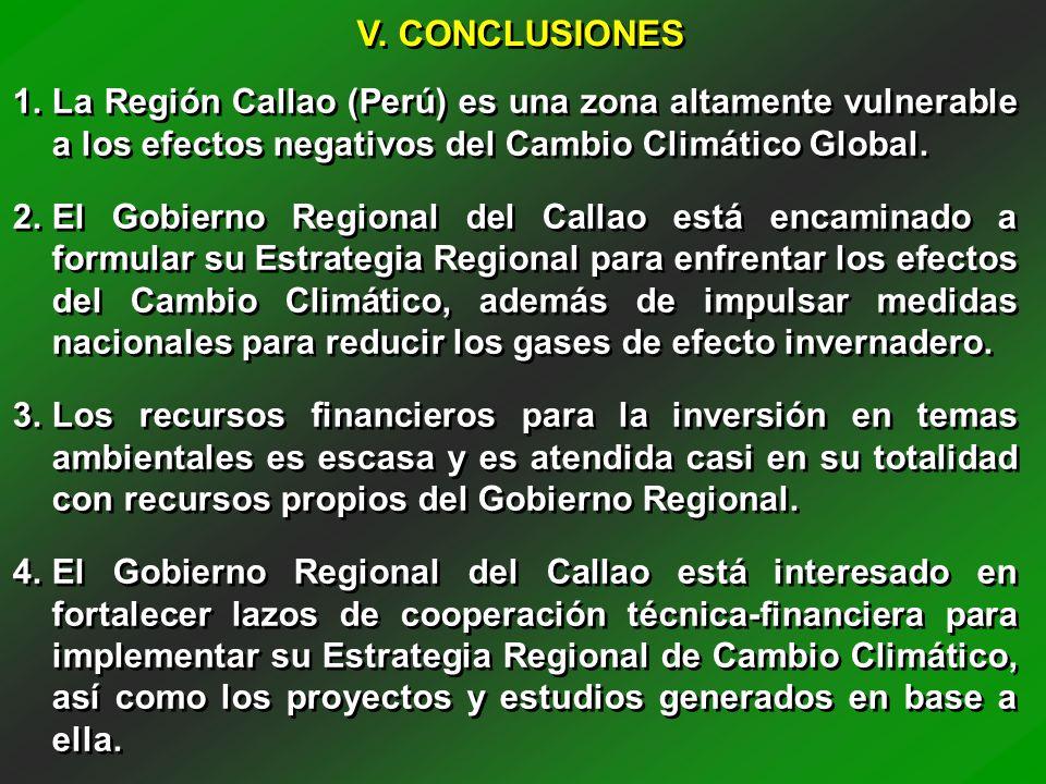 V. CONCLUSIONES La Región Callao (Perú) es una zona altamente vulnerable a los efectos negativos del Cambio Climático Global.