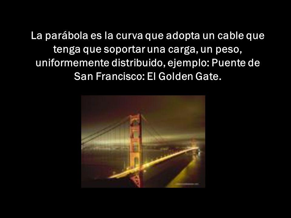 La parábola es la curva que adopta un cable que tenga que soportar una carga, un peso, uniformemente distribuido, ejemplo: Puente de San Francisco: El Golden Gate.