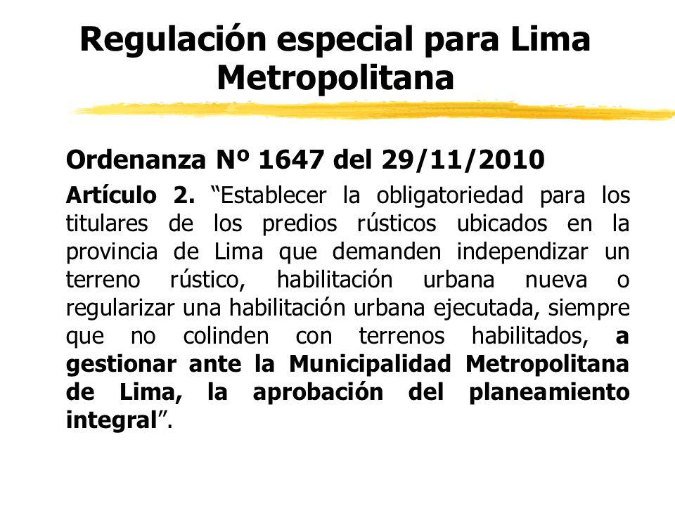 Regulación especial para Lima Metropolitana