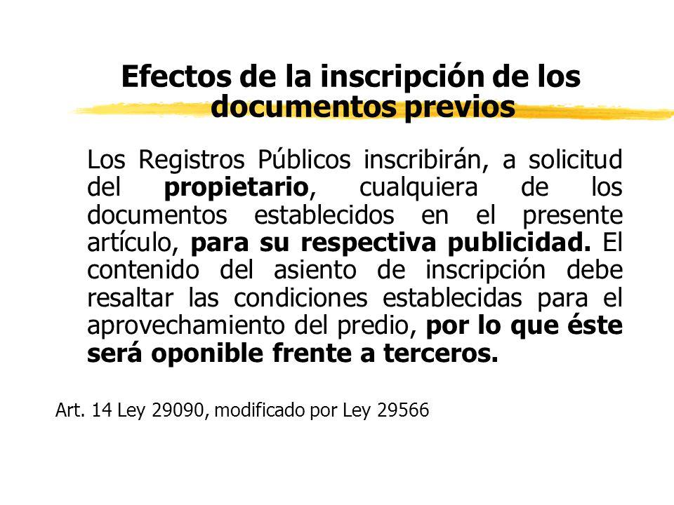 Efectos de la inscripción de los documentos previos