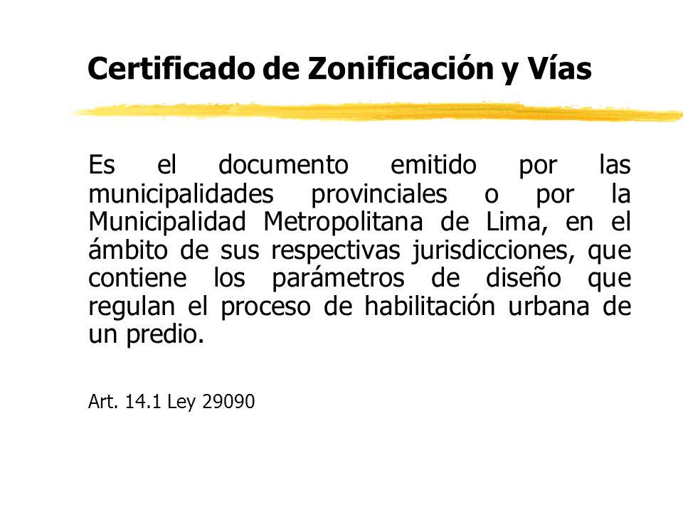 Certificado de Zonificación y Vías