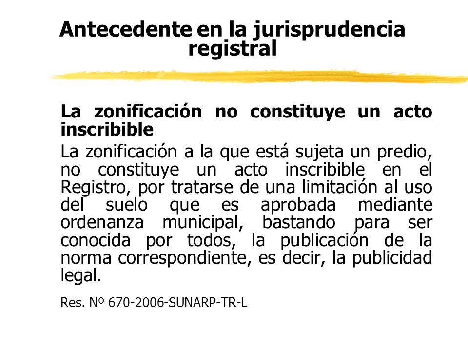 Antecedente en la jurisprudencia registral