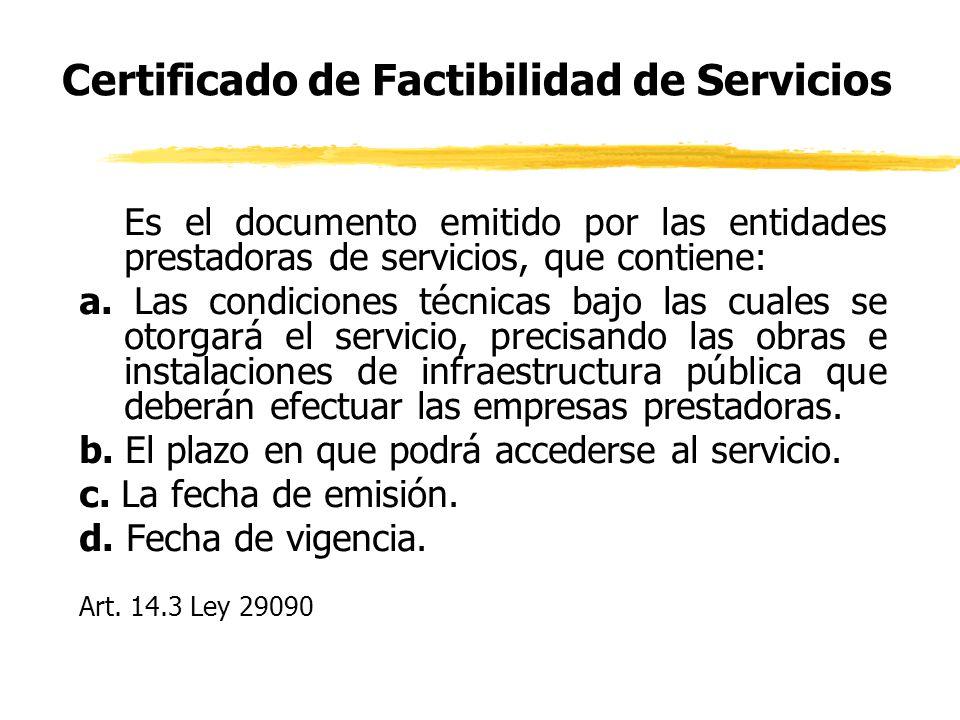 Certificado de Factibilidad de Servicios