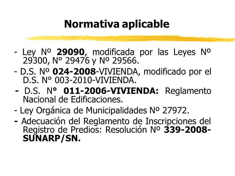 Normativa aplicable - Ley Nº 29090, modificada por las Leyes Nº 29300, N° 29476 y Nº 29566.
