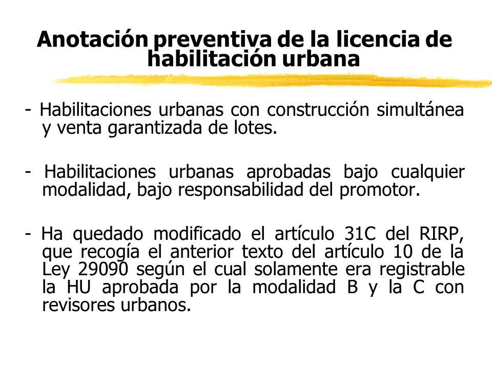 Anotación preventiva de la licencia de habilitación urbana
