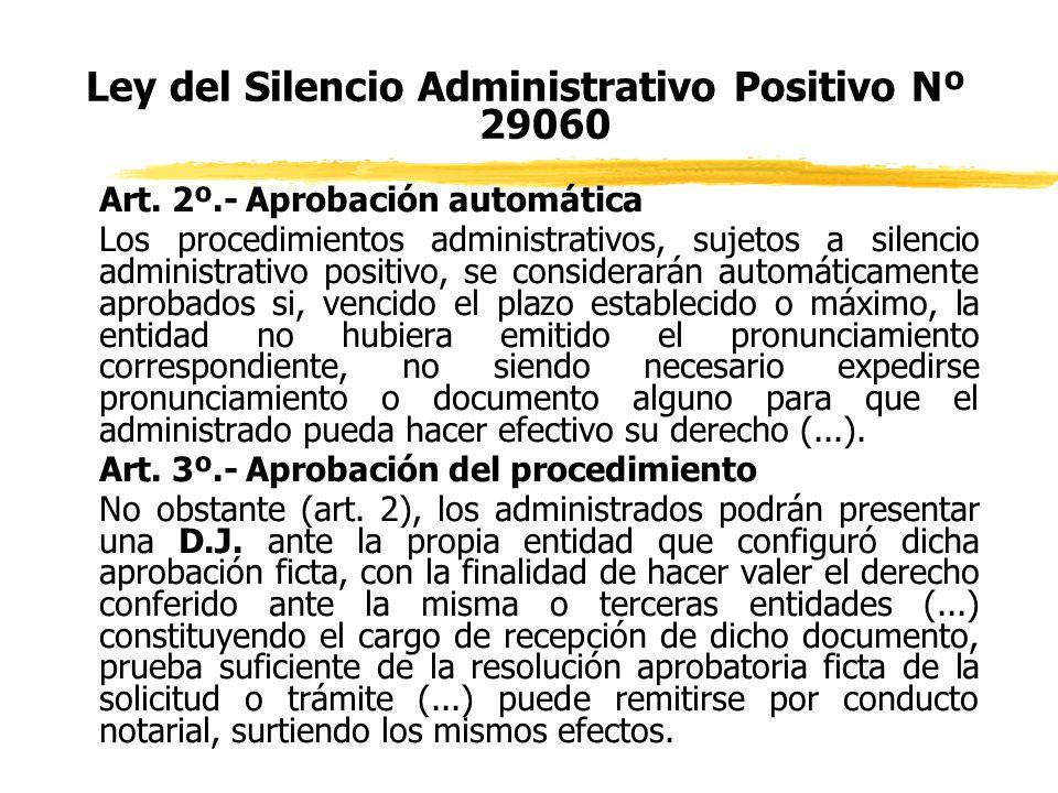 Ley del Silencio Administrativo Positivo Nº 29060