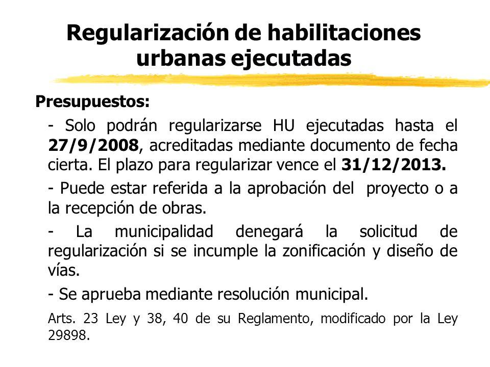 Regularización de habilitaciones urbanas ejecutadas