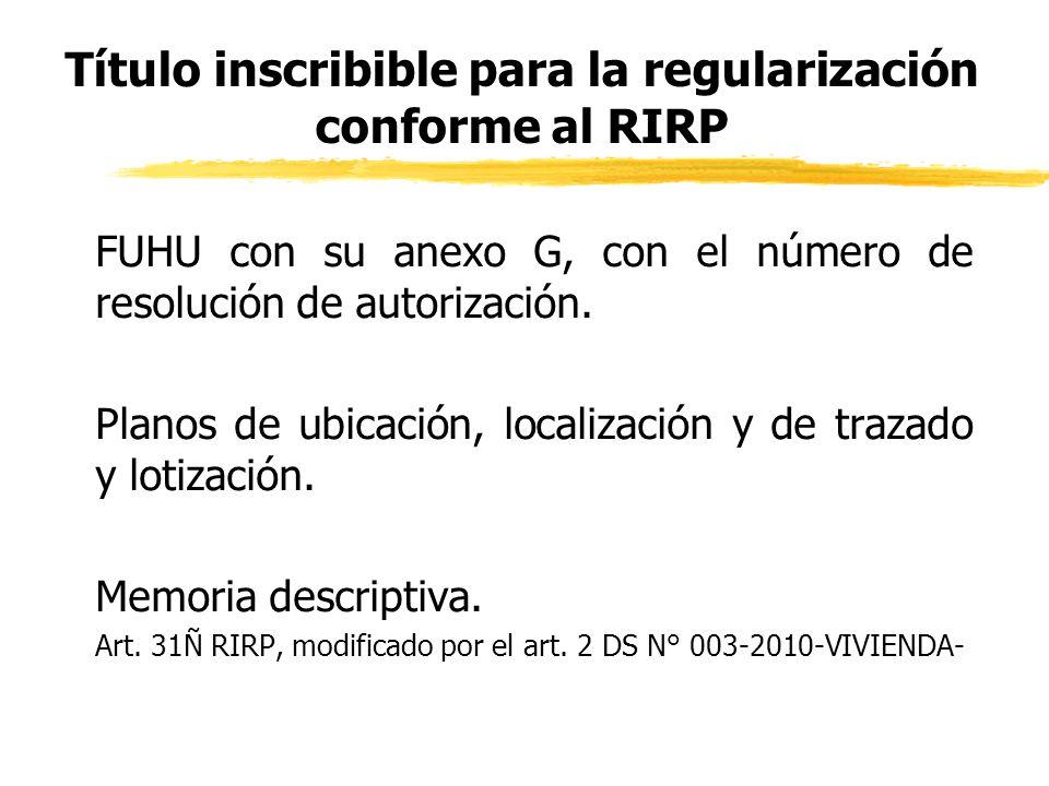 Título inscribible para la regularización conforme al RIRP