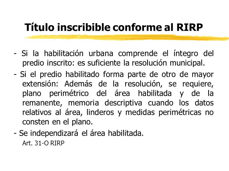 Título inscribible conforme al RIRP