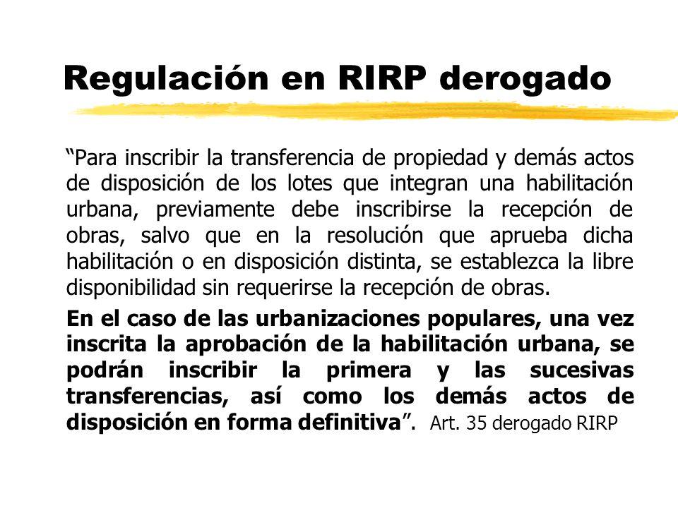 Regulación en RIRP derogado