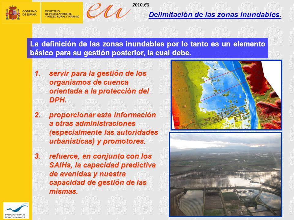 Delimitación de las zonas inundables.