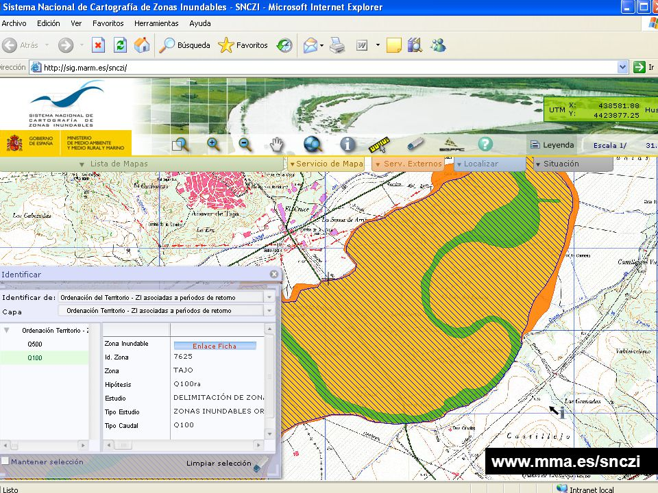 El Sistema Nacional de Cartografía de Zonas Inundables.