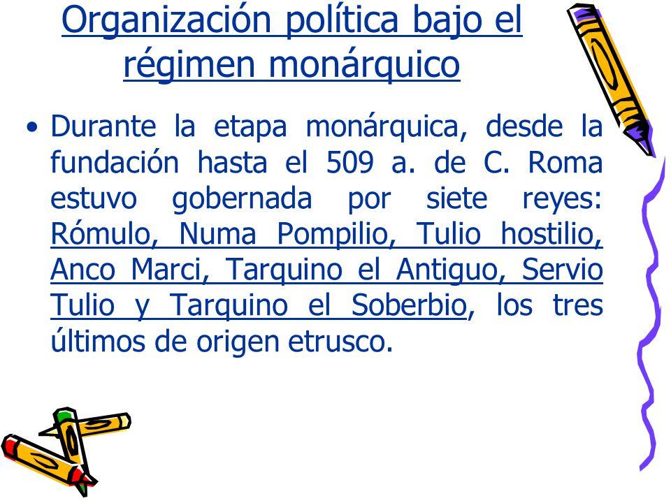 Organización política bajo el régimen monárquico