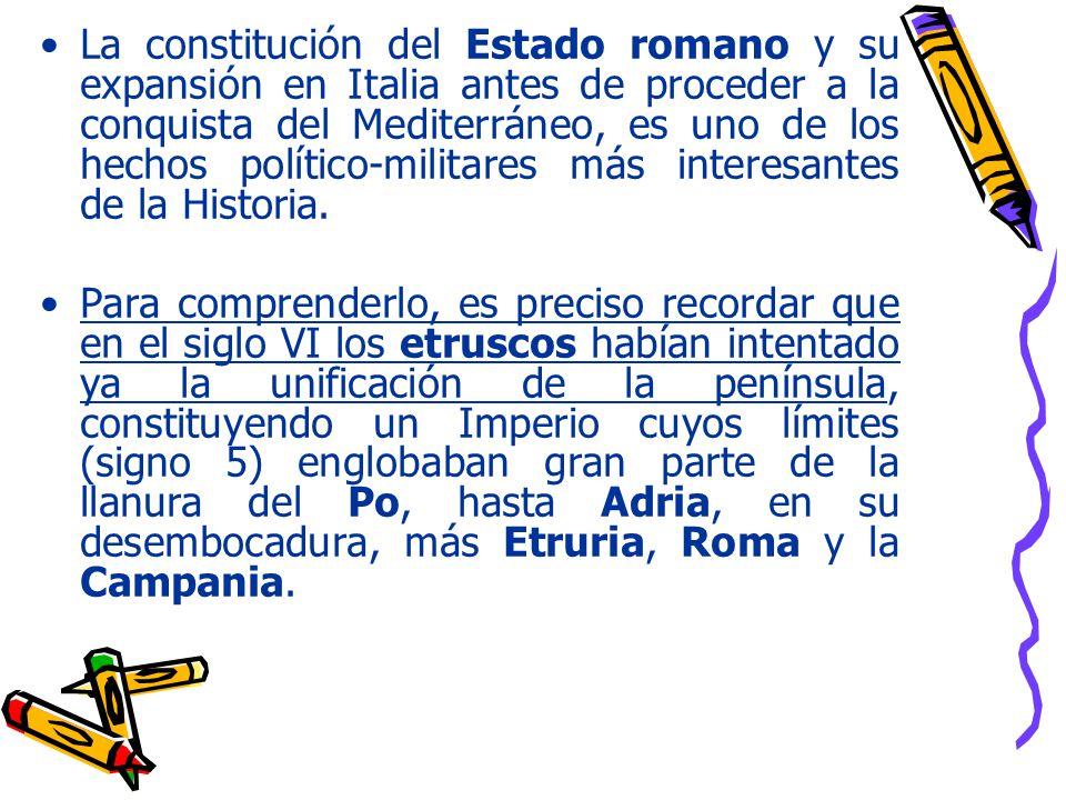 La constitución del Estado romano y su expansión en Italia antes de proceder a la conquista del Mediterráneo, es uno de los hechos político-militares más interesantes de la Historia.