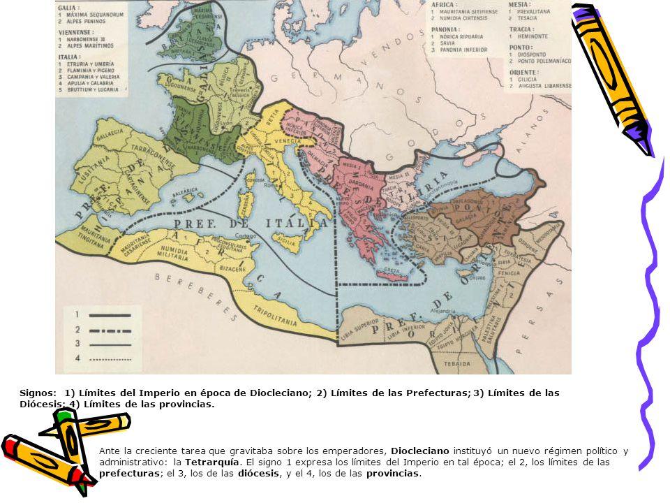 Signos: 1) Límites del Imperio en época de Diocleciano; 2) Límites de las Prefecturas; 3) Límites de las Diócesis; 4) Límites de las provincias.