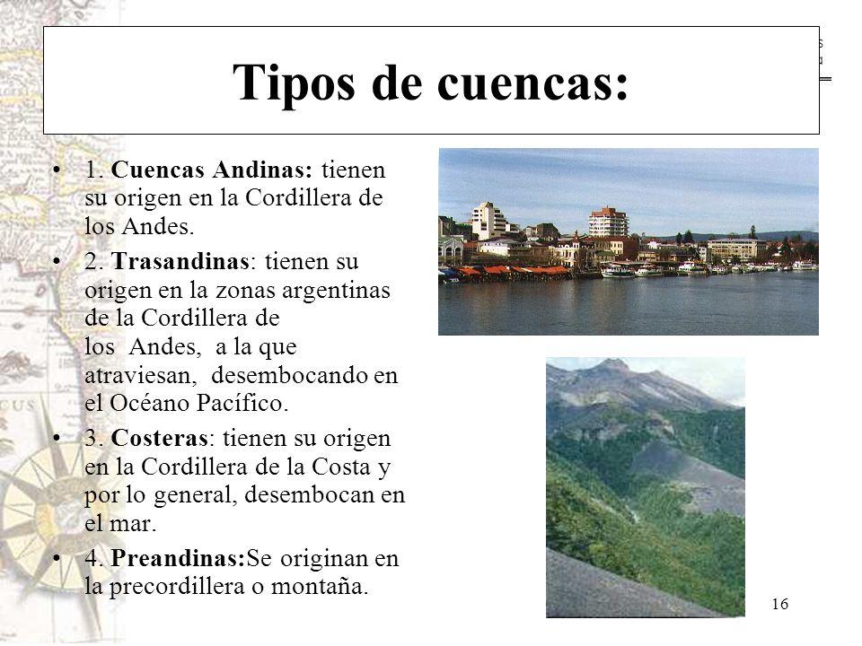 Tipos de cuencas: 1. Cuencas Andinas: tienen su origen en la Cordillera de los Andes.
