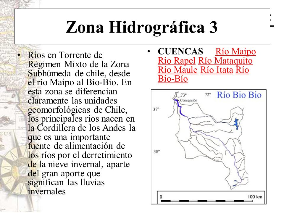 Zona Hidrográfica 3 CUENCAS Río Maipo Río Rapel Río Mataquito Río Maule Río Itata Río Bío-Bío.