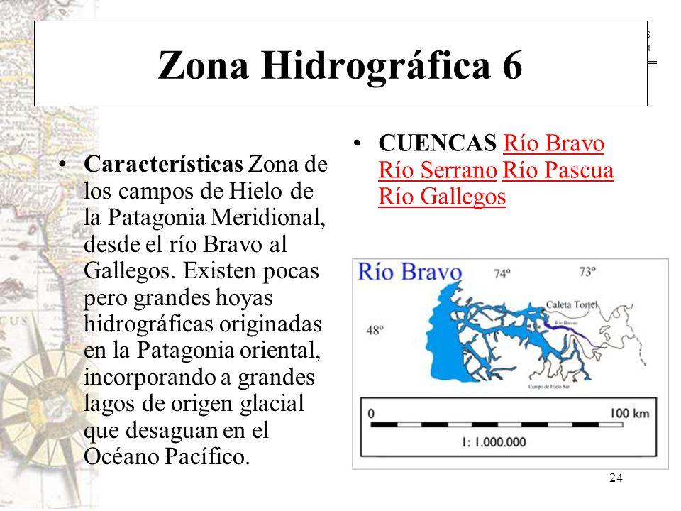 Zona Hidrográfica 6 CUENCAS Río Bravo Río Serrano Río Pascua Río Gallegos.