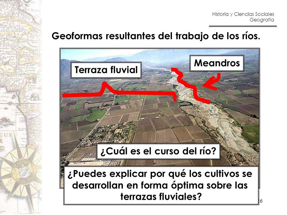 Geoformas resultantes del trabajo de los ríos.