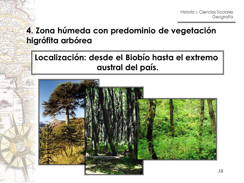 Localización: desde el Biobío hasta el extremo
