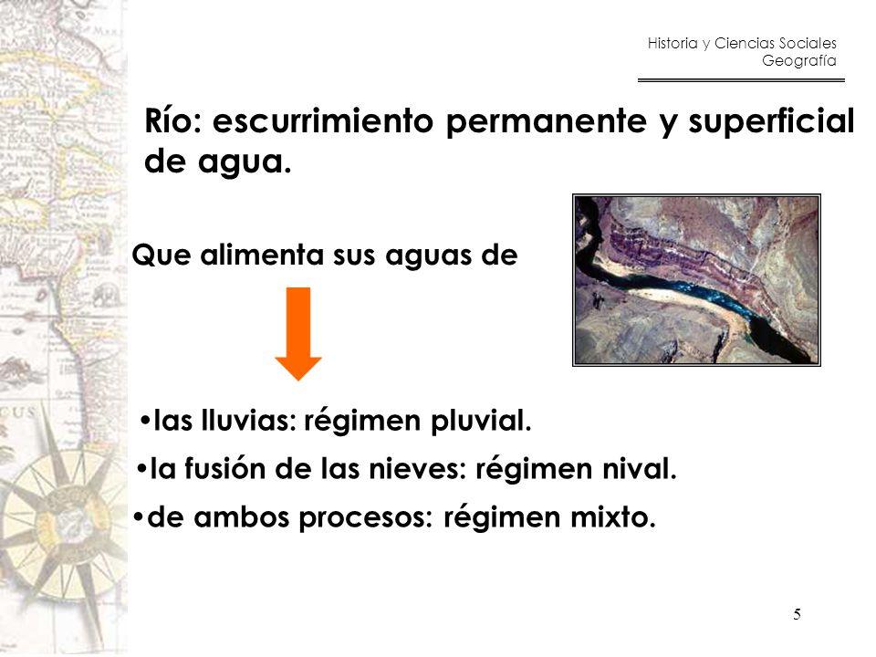 Río: escurrimiento permanente y superficial de agua.