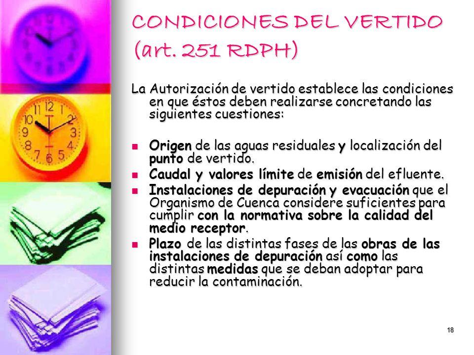 CONDICIONES DEL VERTIDO (art. 251 RDPH)