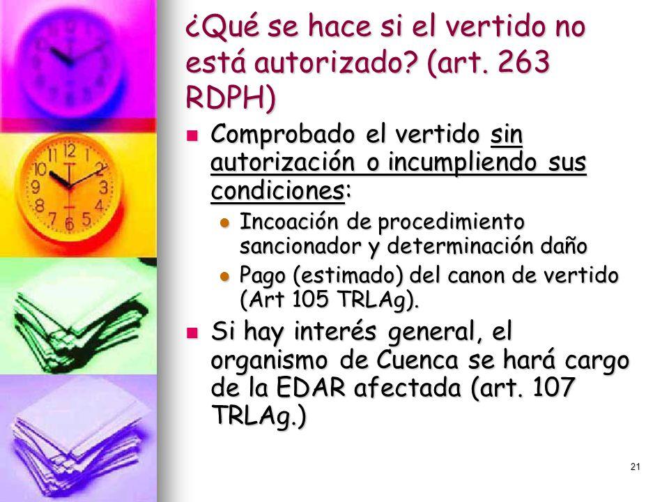¿Qué se hace si el vertido no está autorizado (art. 263 RDPH)