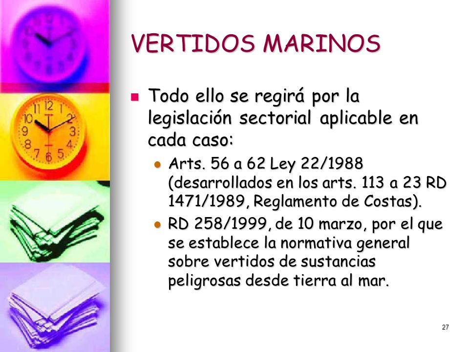 VERTIDOS MARINOS Todo ello se regirá por la legislación sectorial aplicable en cada caso:
