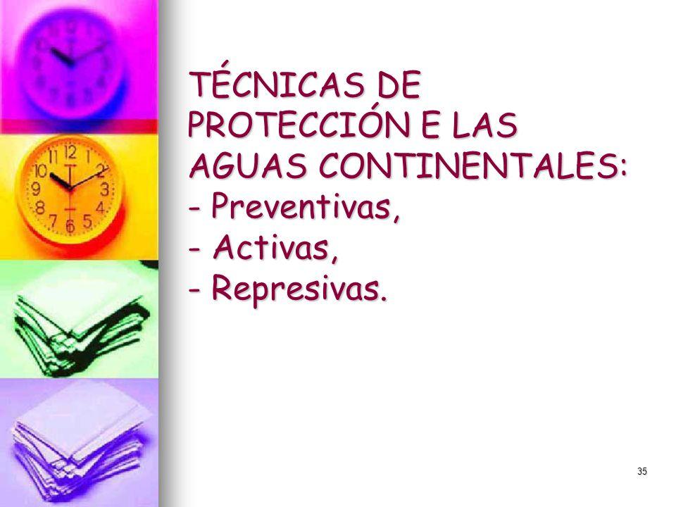 TÉCNICAS DE PROTECCIÓN E LAS AGUAS CONTINENTALES: - Preventivas, - Activas, - Represivas.