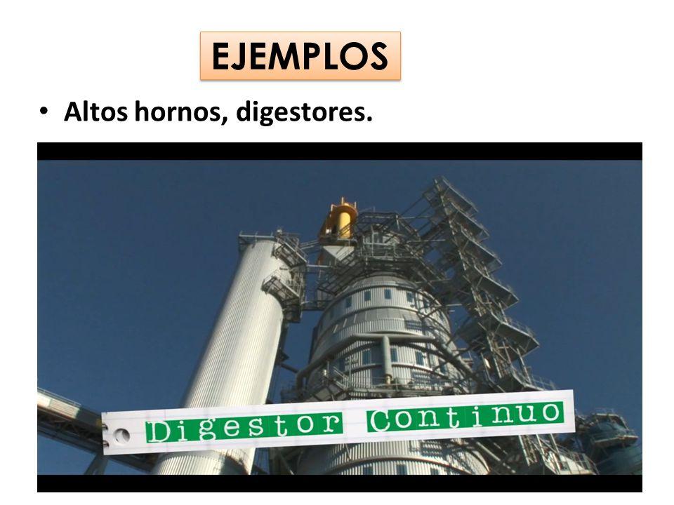 EJEMPLOS Altos hornos, digestores.