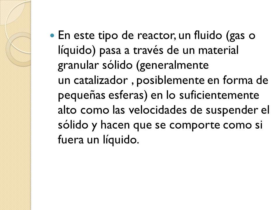 En este tipo de reactor, un fluido (gas o líquido) pasa a través de un material granular sólido (generalmente un catalizador , posiblemente en forma de pequeñas esferas) en lo suficientemente alto como las velocidades de suspender el sólido y hacen que se comporte como si fuera un líquido.