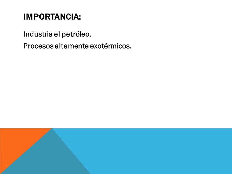 IMPORTANCIA: Industria el petróleo. Procesos altamente exotérmicos.