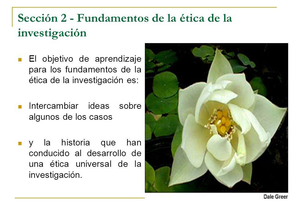 Sección 2 - Fundamentos de la ética de la investigación