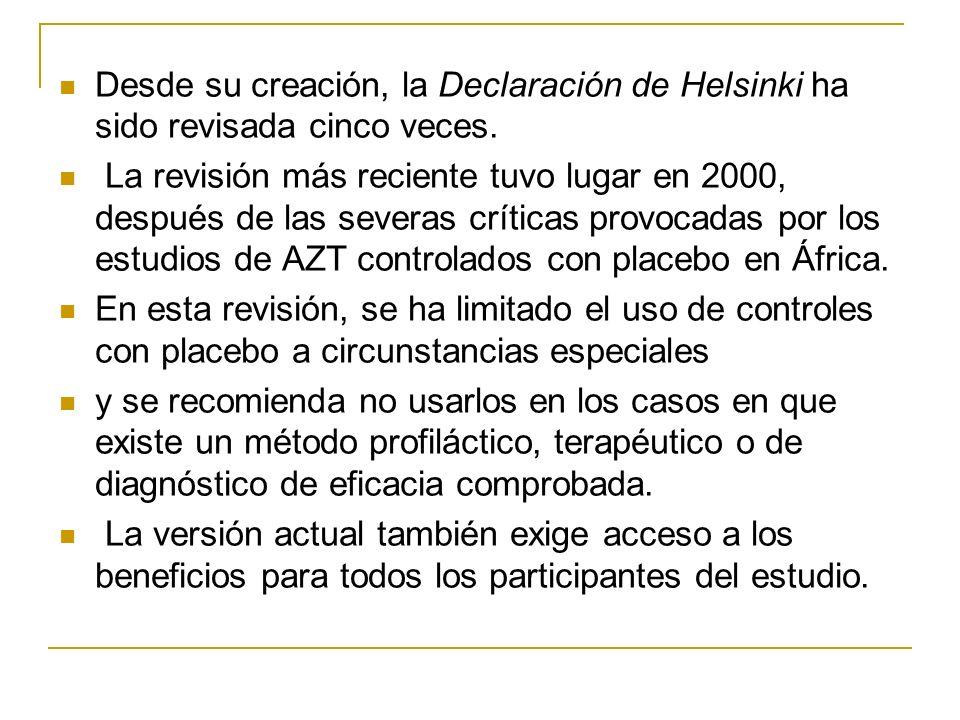 Desde su creación, la Declaración de Helsinki ha sido revisada cinco veces.