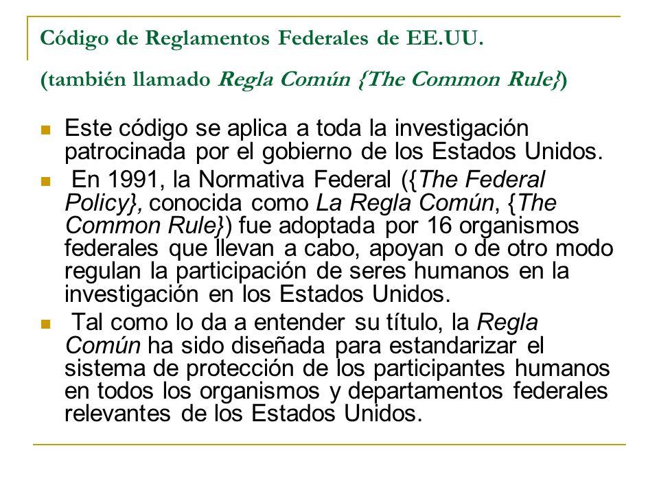 Código de Reglamentos Federales de EE. UU