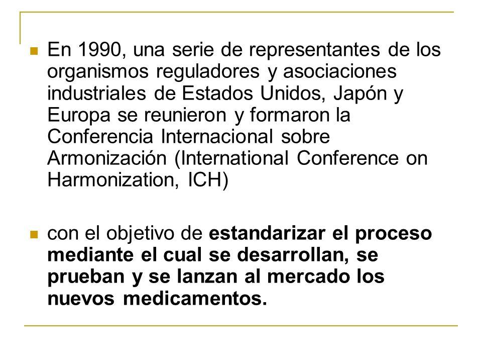 En 1990, una serie de representantes de los organismos reguladores y asociaciones industriales de Estados Unidos, Japón y Europa se reunieron y formaron la Conferencia Internacional sobre Armonización (International Conference on Harmonization, ICH)